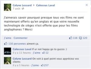 Commentaire du Colossus de Laval sur Facebook