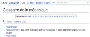 Exemple d'un glossaire avec Wikipédia.